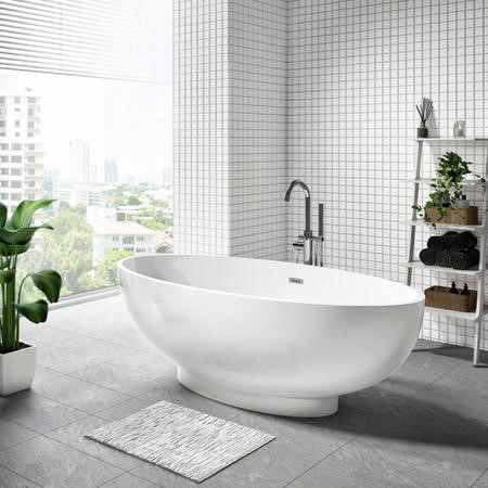 Oval Double Ended Freestanding Bath - L1680 x W800mm