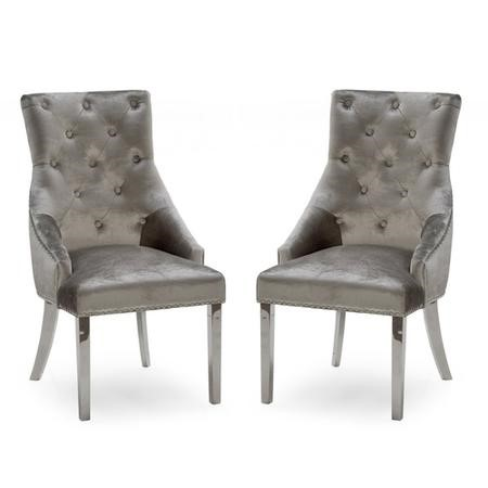 Pair of Champagne Grey Velvet Dining Chairs with Knockerback - Vida Living Belvedere