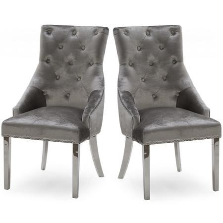 Pair of Dining Chairs in Grey Velvet with Silver Knockerback - Vida Living