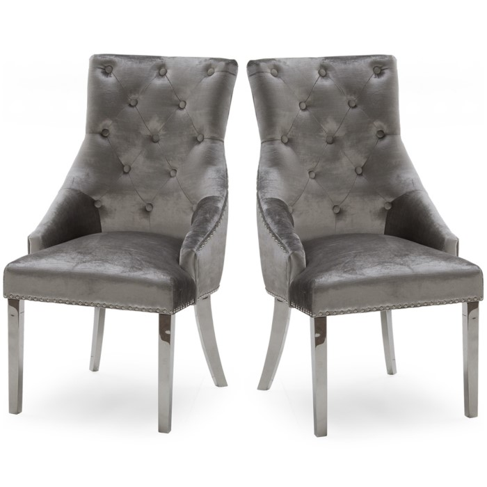 444409f4307b Pair of Dining Chairs in Grey Velvet with Silver Knockerback - Vida Living  Bel-111-gy