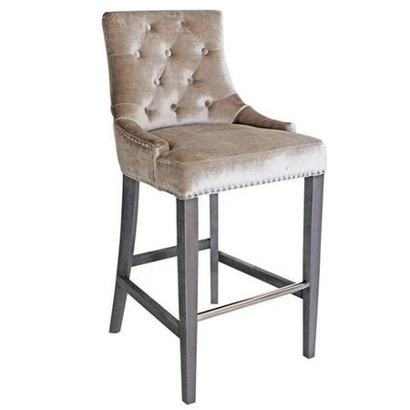 Champagne Velvet Bar Stool with Silver Studs & Knockerback - Arianna