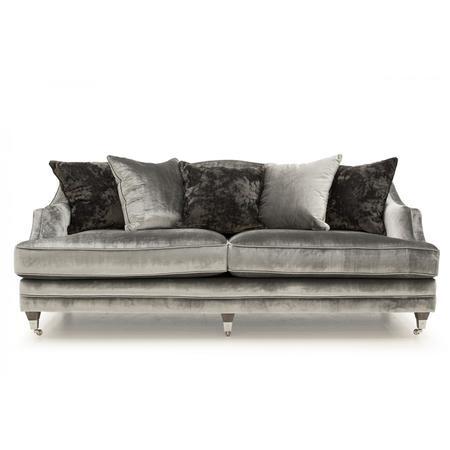Belvedere Silver Velvet 4 Seater Sofa | Furniture123