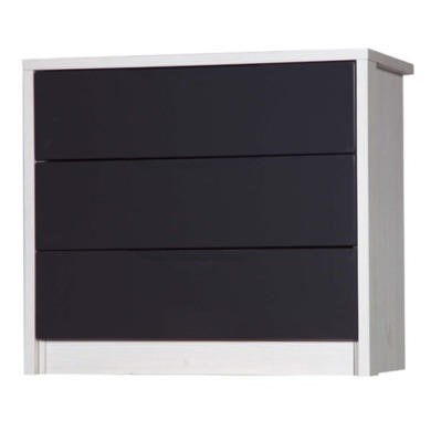 Avola 3 Drawer Chest in White with Grey Gloss