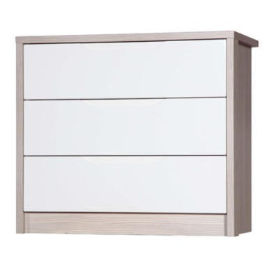 Avola 3 Drawer Chest of Drawers in Champagne with Cream Gloss