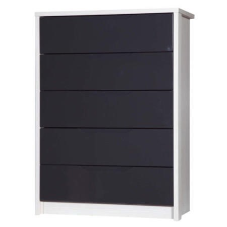 Avola 5 Drawer Chest Of Drawers In White With Grey Gloss