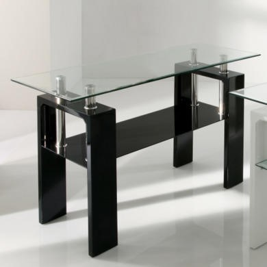Wilkinson Furniture Calico Black High Gloss and Glass Console Table