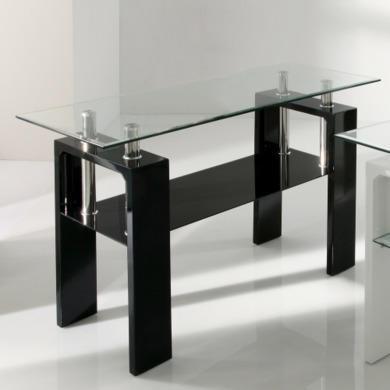 Vida Living Calico Black High Gloss and Glass Console Table