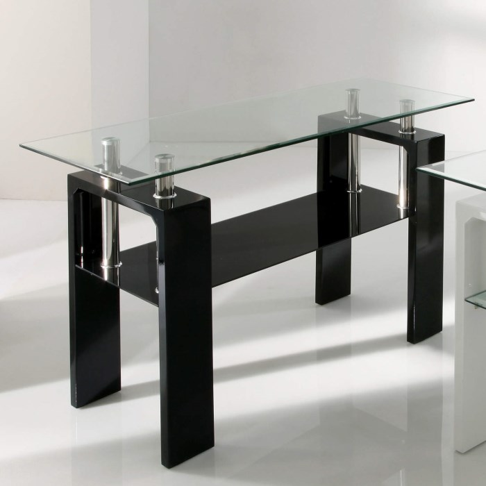 Vida living calico black high gloss and glass console for Sofa table vs console table
