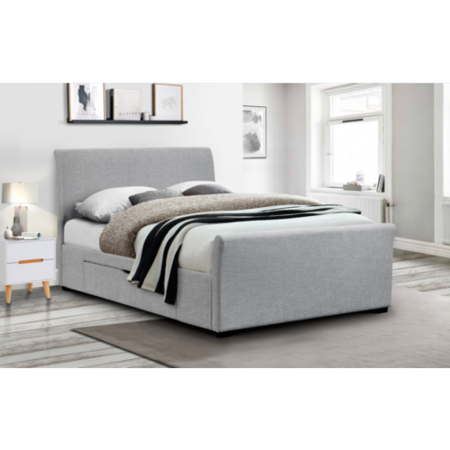 Capri Grey Upholstered Kingsize Bed With Under Bed Storage