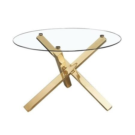 LPD Capri Dinning Table Glass Top with Gold Metal Legs