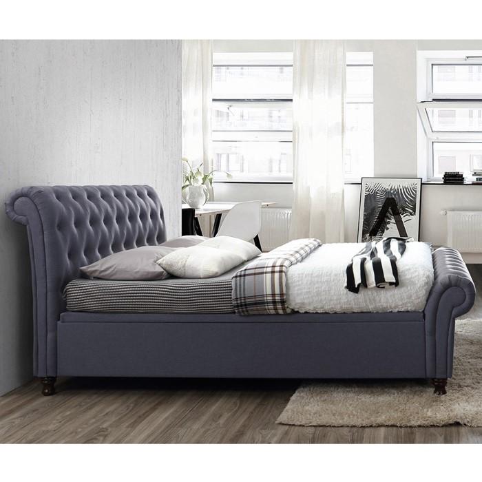 685a99f768f Birlea Castello Upholstered Charcoal Side Ottoman Super Kingsize Bed ...