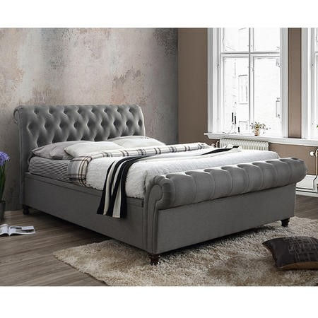 Birlea Castello King Size Side Ottoman Bed in Grey Fabric