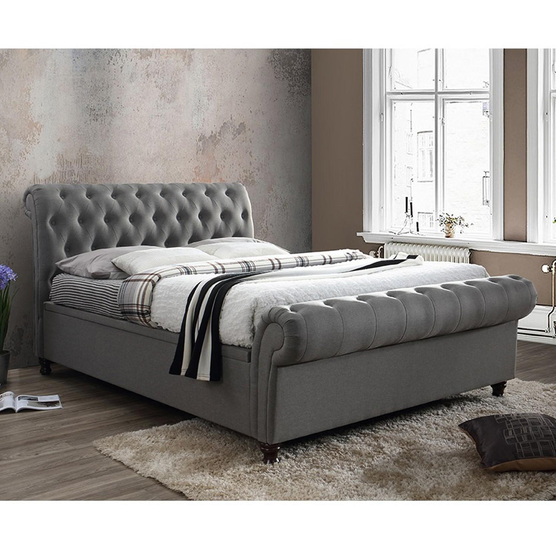 Amazing Birlea Castello Upholstered Grey Side Ottoman Double Bed Creativecarmelina Interior Chair Design Creativecarmelinacom