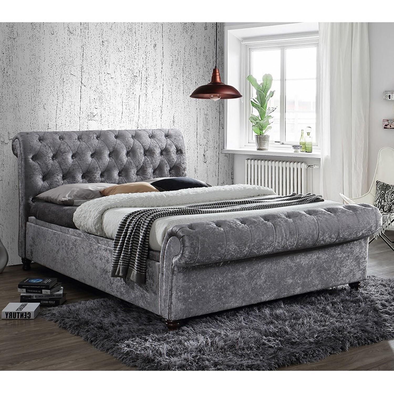 Birlea Castello Side Ottoman Kingsize Bed Upholstered In Steel