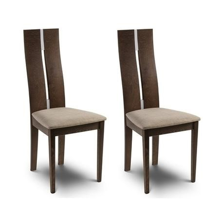 GRADE A2 - Julian Bowen Pair of Chelsea Dining Chairs with Walnut Finish