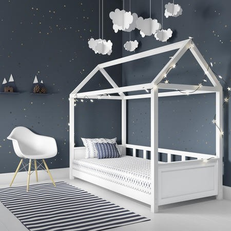 Coco Kids House Bed Frame in White