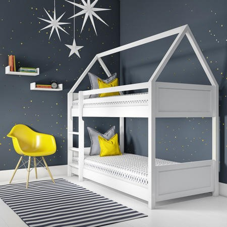 Coco Kids House Bunk Bed in White