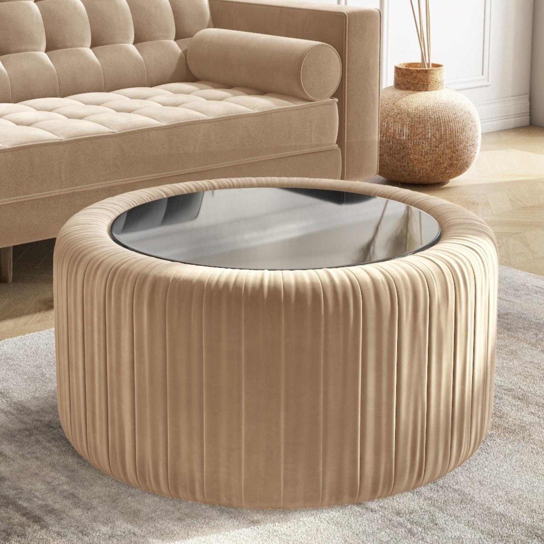Round Beige Velvet Ottoman Storage, Storage Ottoman Table Round
