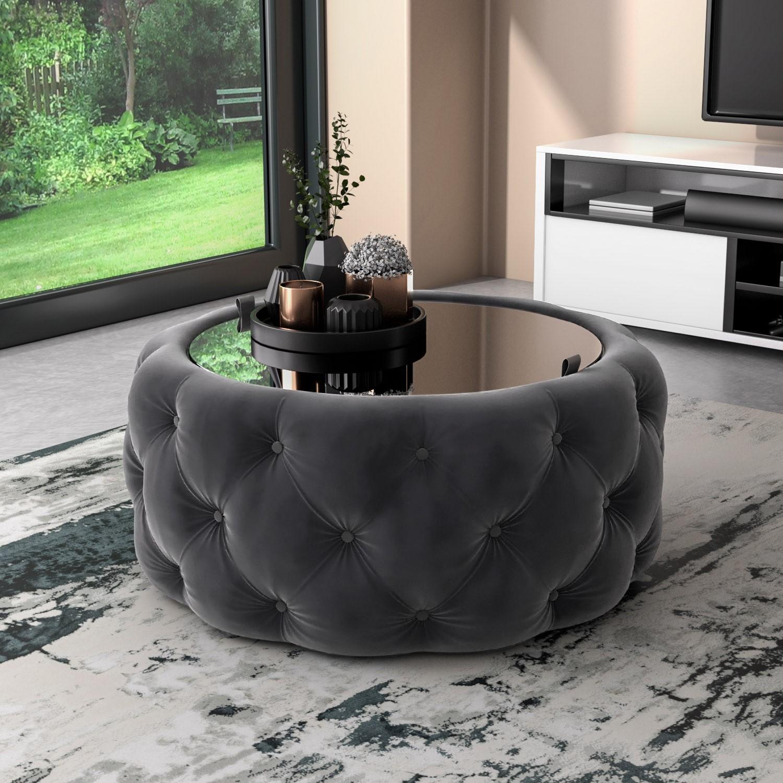 Dark Grey Velvet Buttoned Coffee Table With Ottoman Storage Clio Furniture123