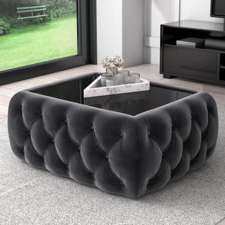 Dark Grey Velvet Storage Coffee Table with Glass Top - Buttoned - Clio