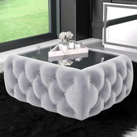 Silver Grey Velvet Storage Coffee Table - Buttoned - Clio