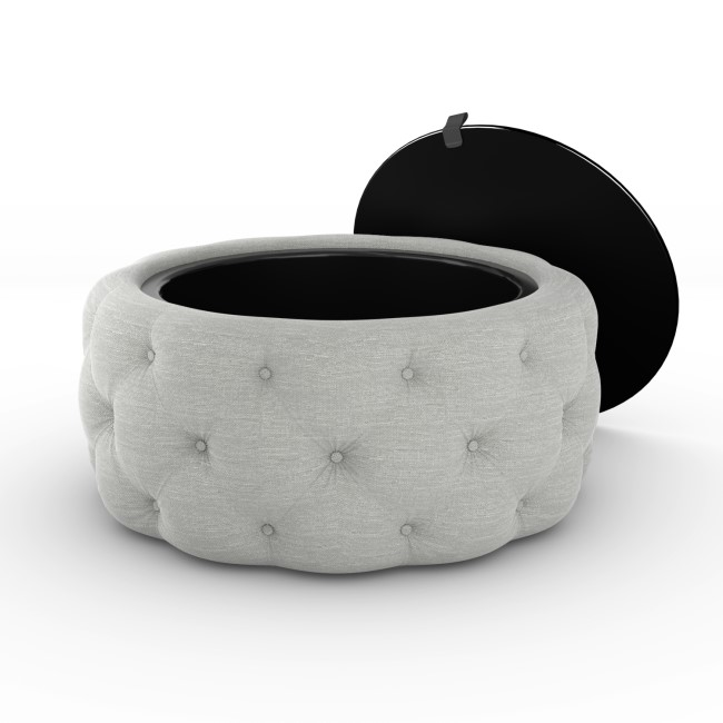 Clio Round Storage Coffee Table in Grey Linen with Mirrored Top