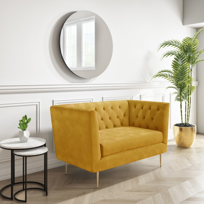 GRADE A1 - Mustard Velvet Loveseat Armchair with Button Detail - Celeste