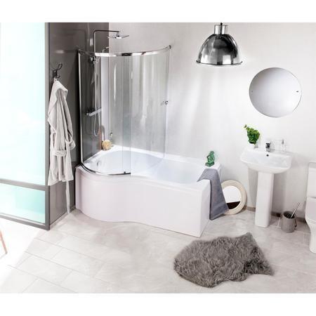 Curved Bath Shower Screen Left Hand Orbital Furniture123