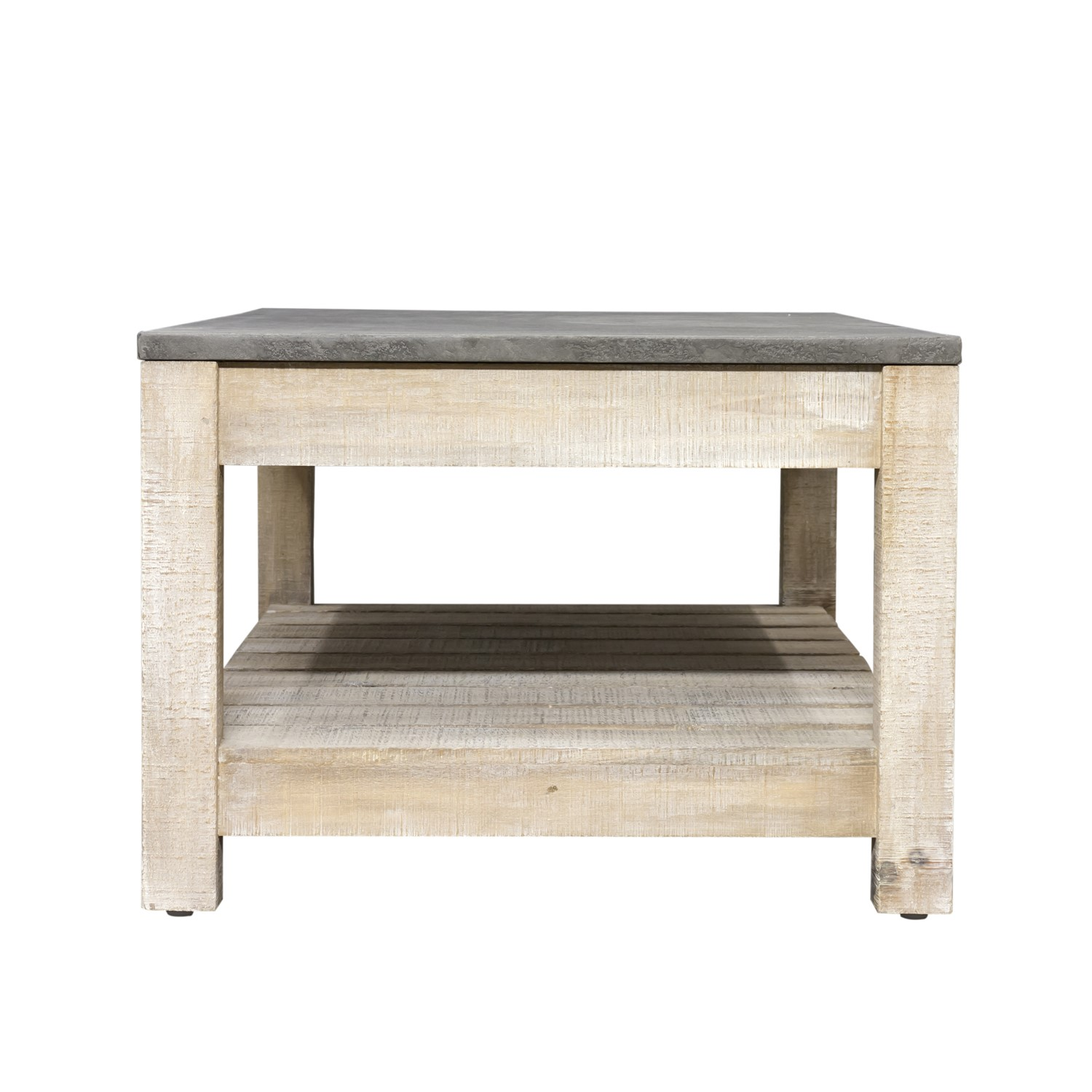 Signature North Brooklyn Distressed Coffee Table With Faux Concrete Table Top