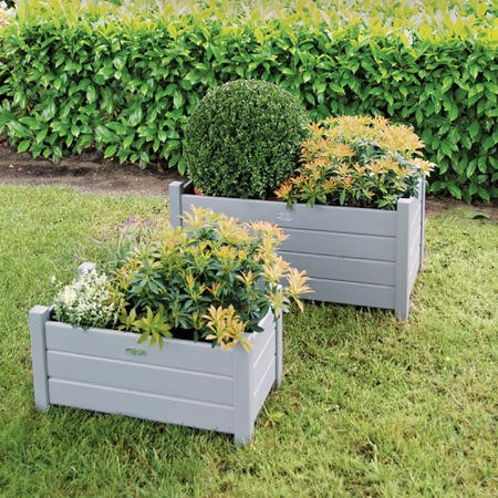 Set of 2 Grey Rectangular Planters - Outdoor