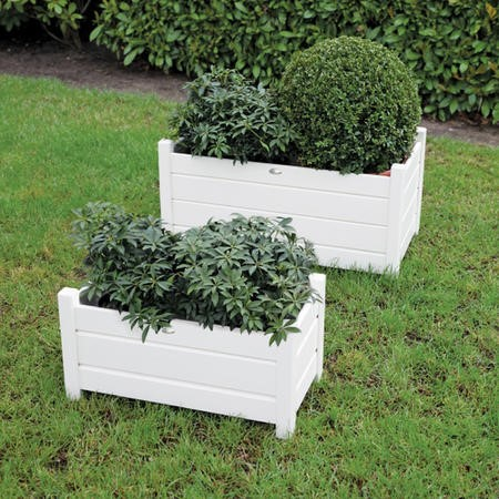 Set of 2 Cream Rectangular Planters