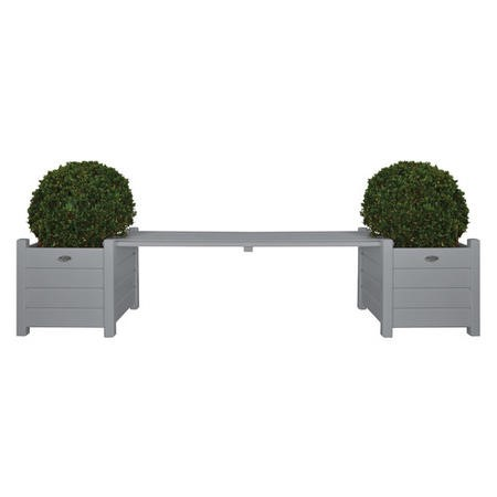 Grey Garden Bench with Planters