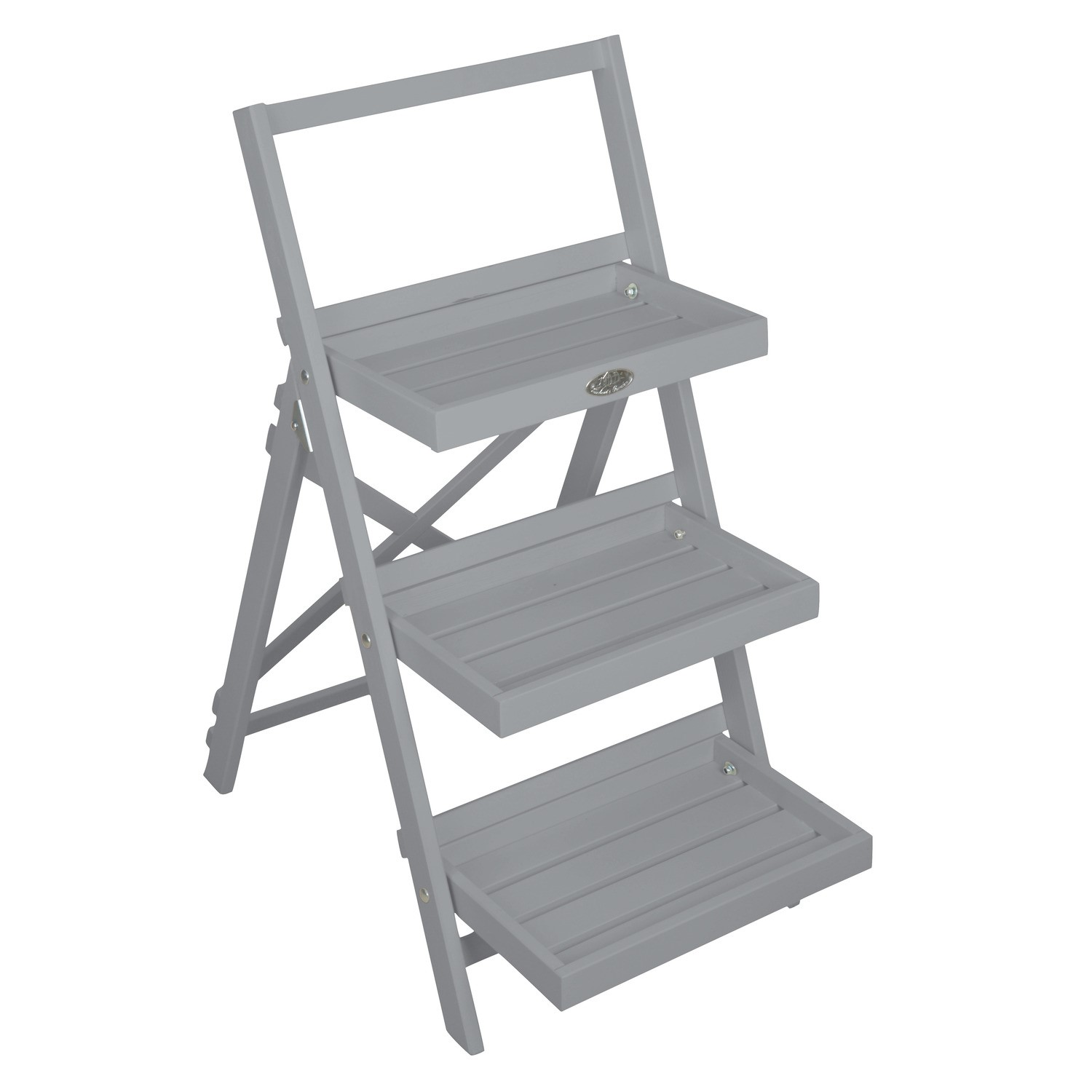Grey Stepped Plant Stand With 3 Steps Garden Furniture123