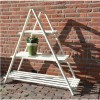 Triangle Garden Plant Stand with White Painted Finish - 3 Shelves