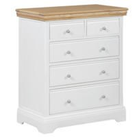 Charleston 2+3 Drawer Chest in Cream and Oak