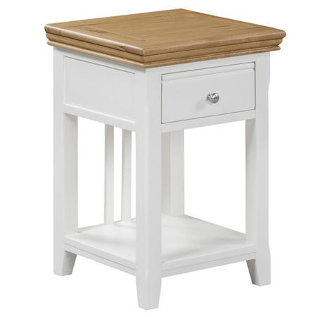 Charleston two tone bedside table in solid oak and painted for 12 wide bedside table