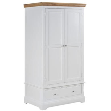Charleston 2 Door 1 Drawer Wardrobe in Stone White and Oak