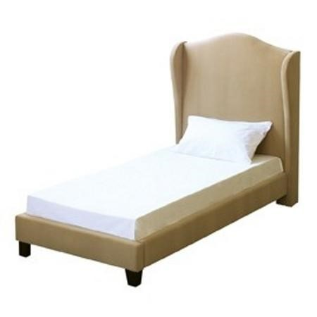 LPD Chateaux Single Wing Back Bed Frame in Beige Velvet