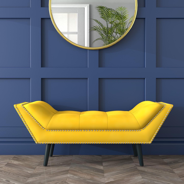 Cheska Small Studded Velvet Bench In Yellow Furniture123