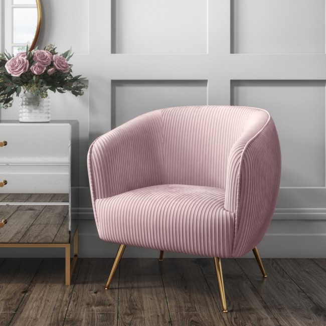 Baby Pink Velvet Armchair with Pleated Detail - Cheska