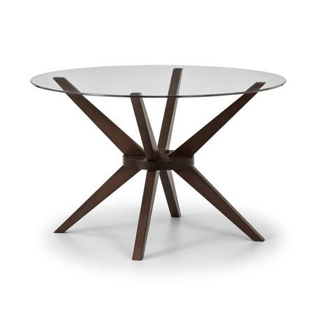 Chelsea Round Walnut & Glass Dining Table - Julian Bowen Range