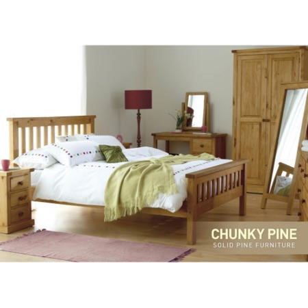 Chunky Pine 2 Door 1 Drawer Wardrobe