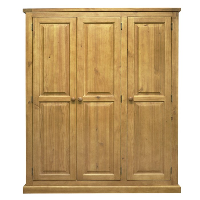 chunky solid pine 3 door triple wardrobe furniture123