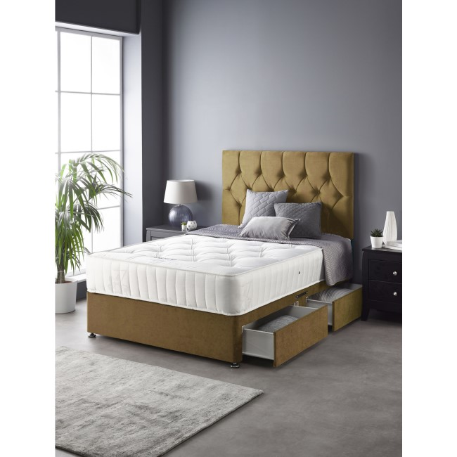King Size Divan Bed and Mattress Set in Ochre with 2 Storage Drawers - Catherine Lansfield