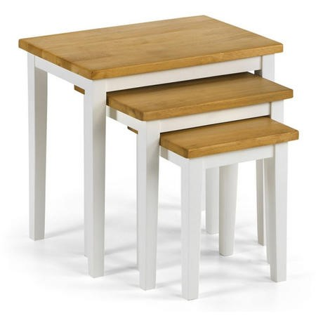 Julian Bowen Cleo White and Oak Nest of 3 Tables