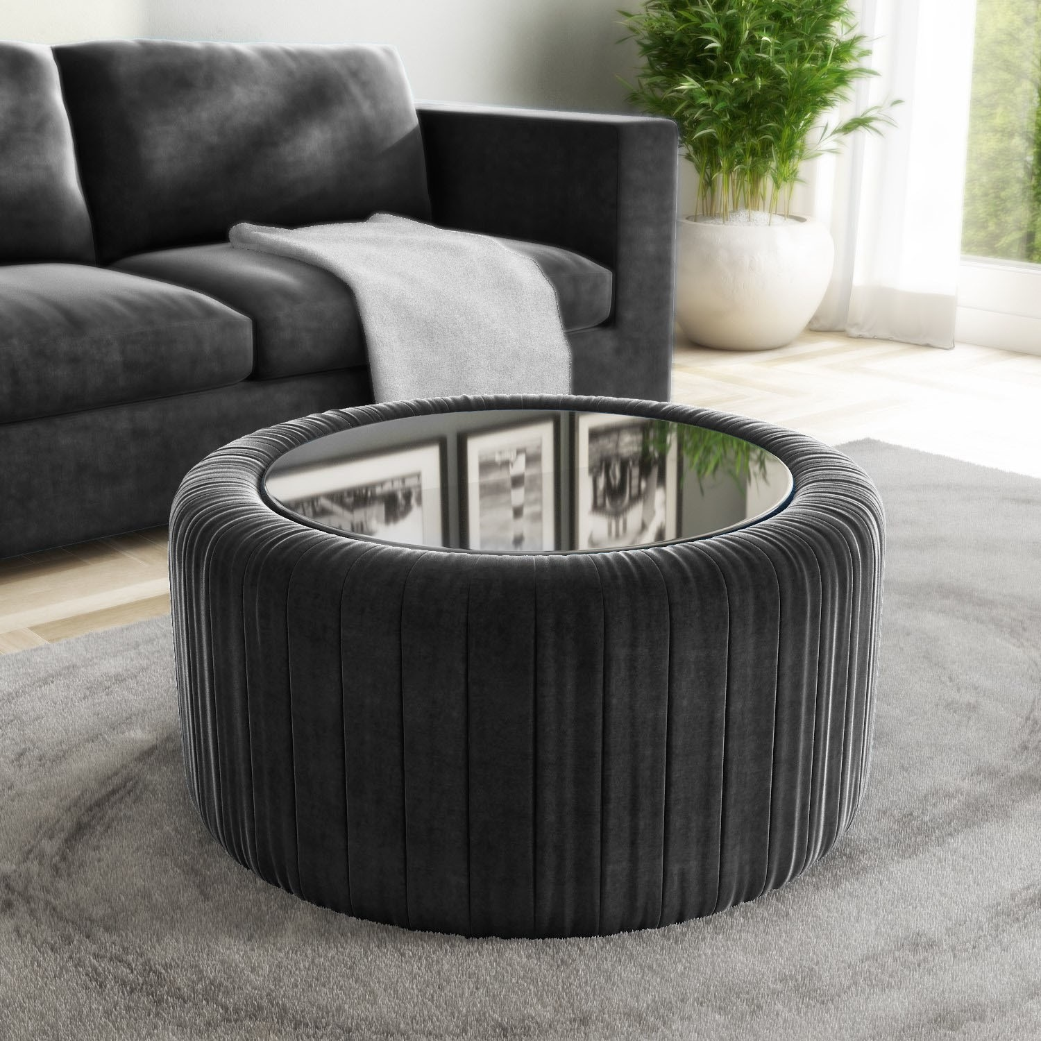 - Grey Velvet Ottoman Storage Pouffe With Glass Top - Coffee Table