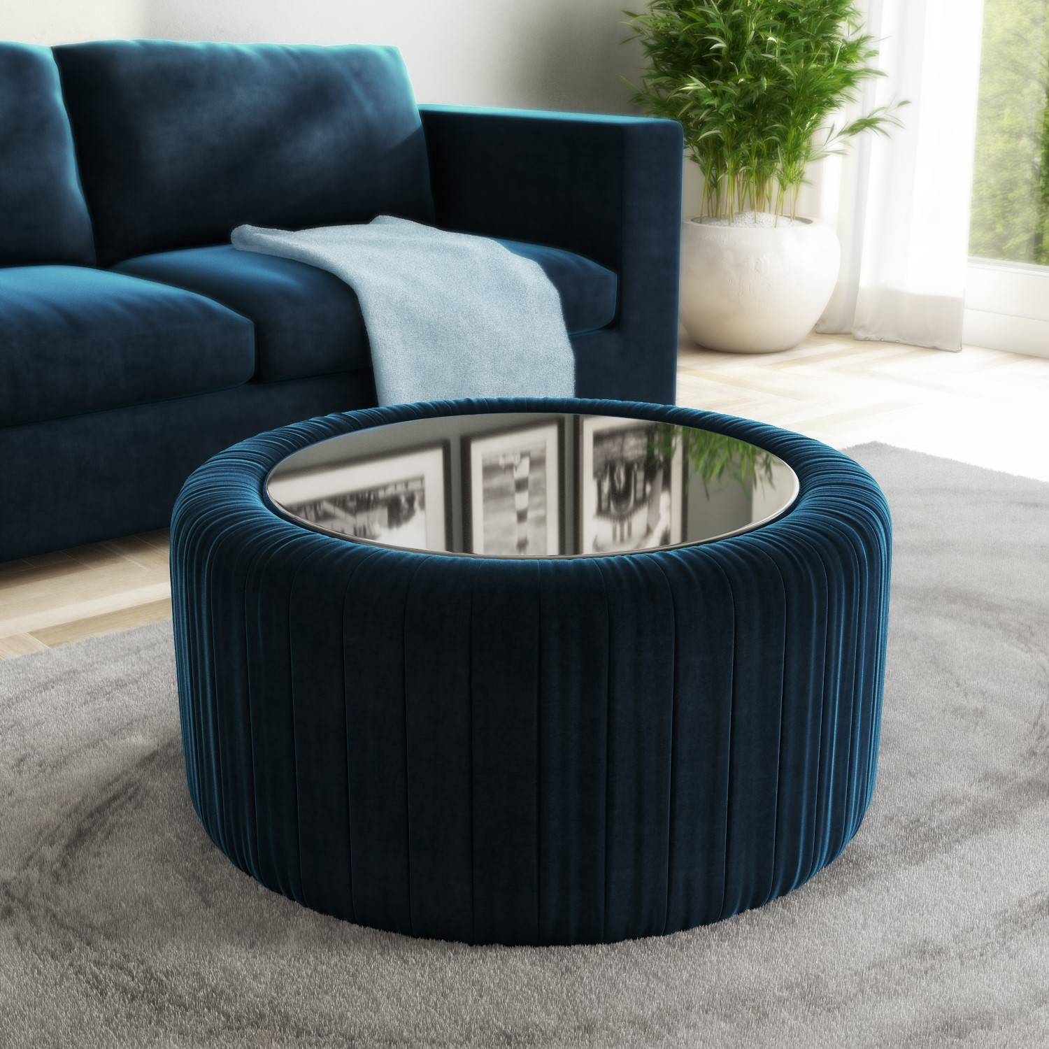 Navy Blue Velvet Ottoman Storage Pouffe With Glass Top Coffee Table Clio Furniture123