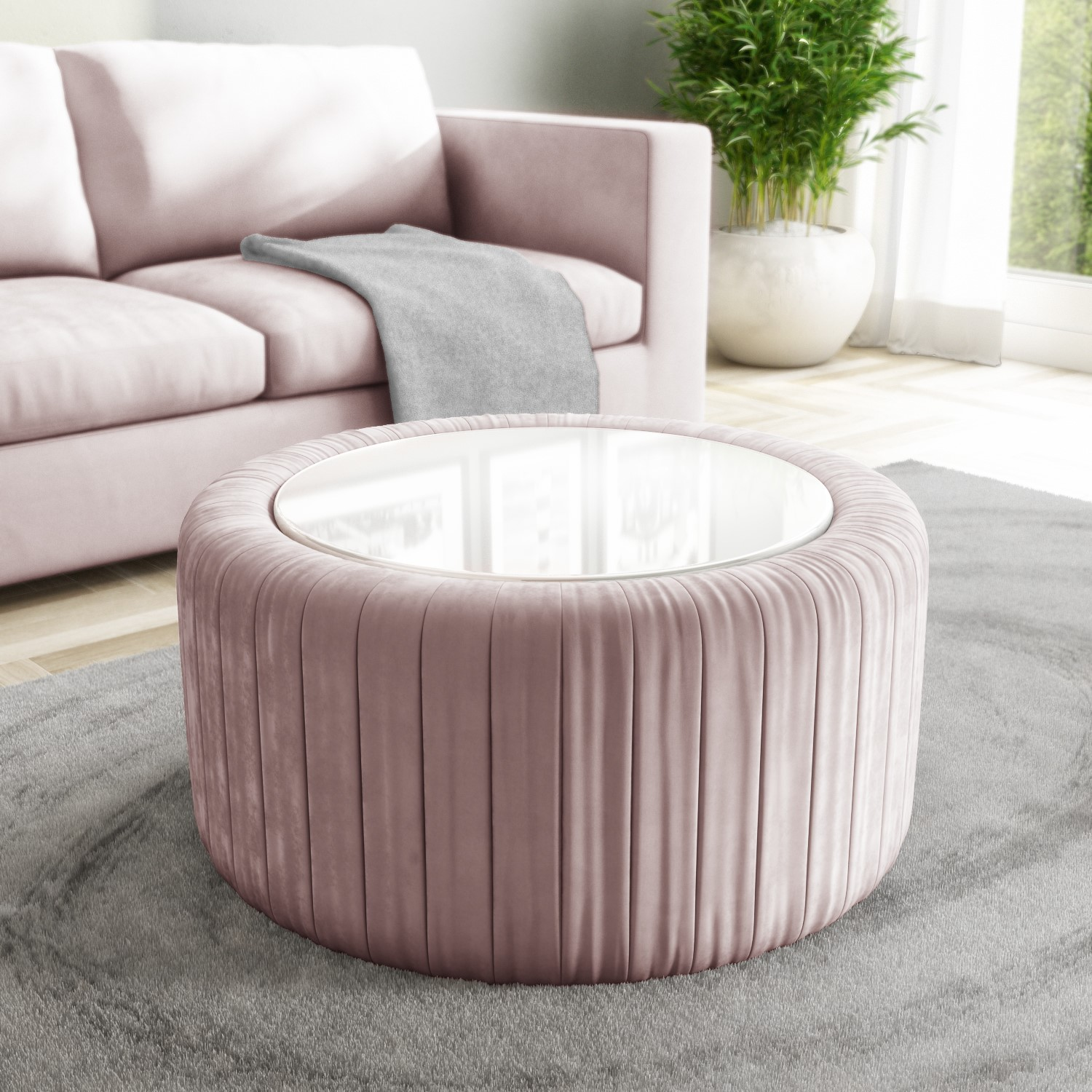 Pink Velvet Ottoman Storage Pouffe With White Glass Top Coffee