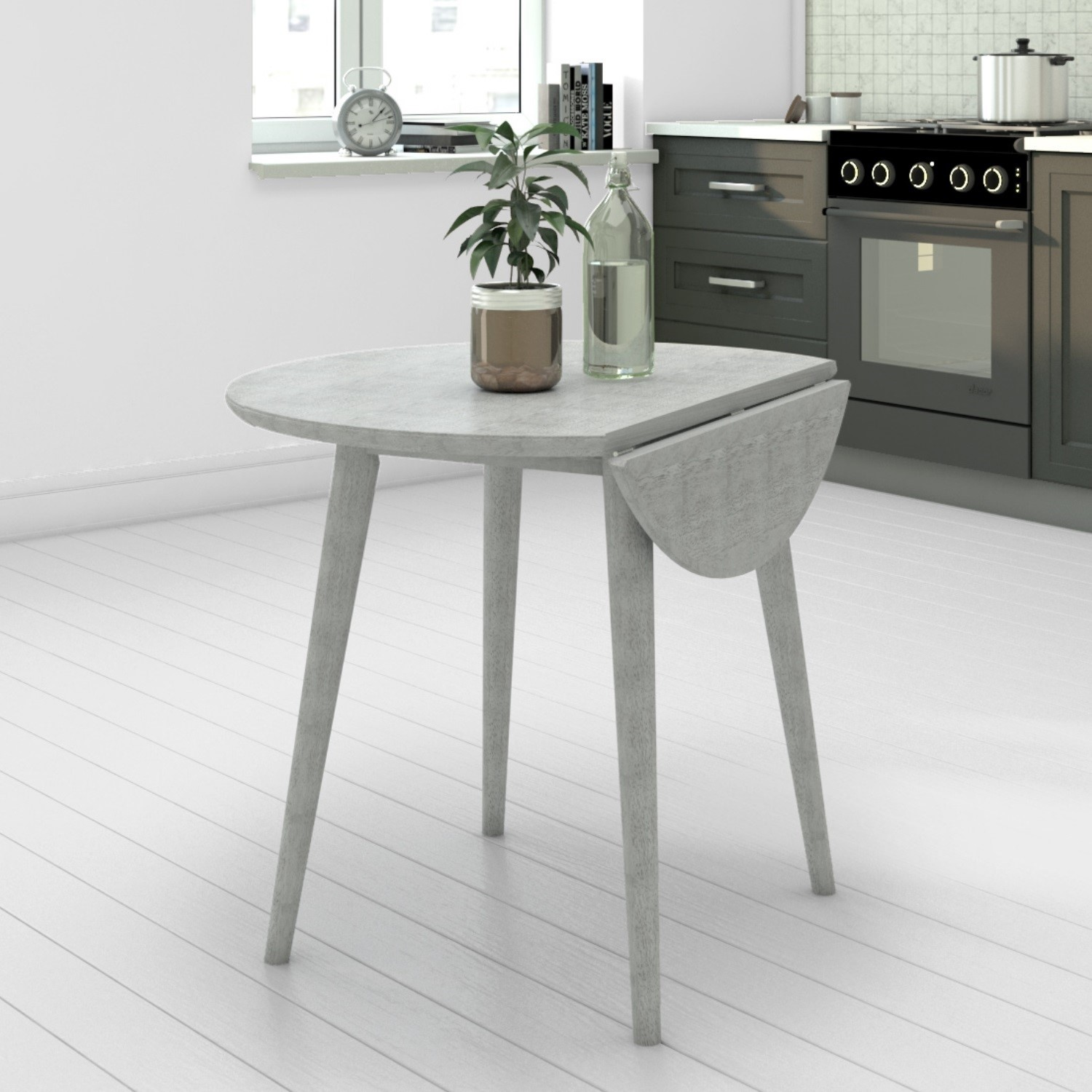 Grey Round Drop Leaf Dining Table - Seats 12 - Cami