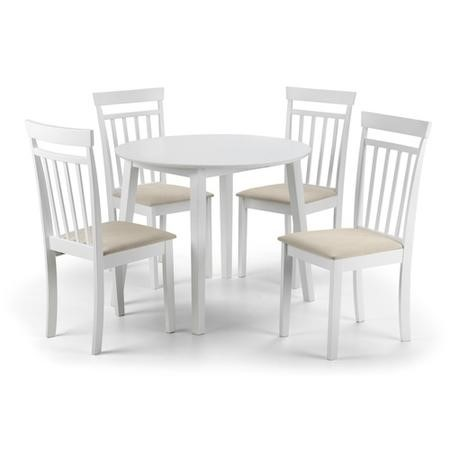 Julian Bowen Coast White Dining Set with Round Table & 4 Chairs